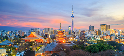 View of Tokyo skyline at sunset